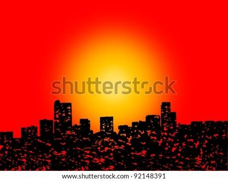 Grunge Denver skyline with abstract sunset illustration