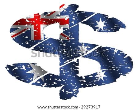 grunge dollar symbol with Australian flag on white illustration