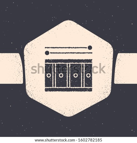 Grunge Drum with drum sticks icon isolated on grey background. Music sign. Musical instrument symbol. Monochrome vintage drawing.