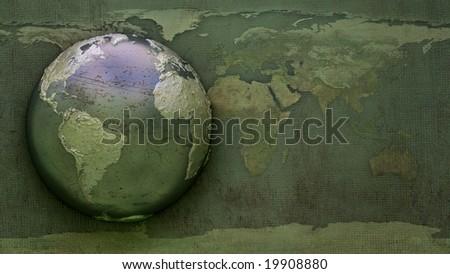 Grunge Earth 3D illustration - stock photo