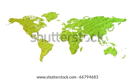 Grunge eco environment world map with green colored paper texture - isolated against white background, including clipping path