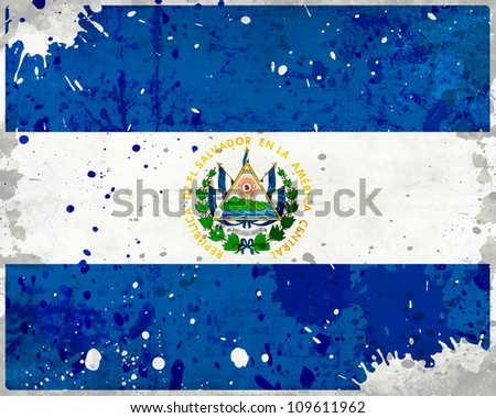 Grunge El Salvador flag with stains - flag series