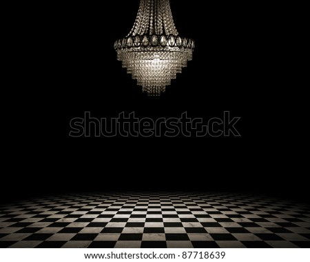 Grunge empty interior with checkered marble floor - stock photo