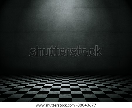 Grunge empty interior with checkered marble floor