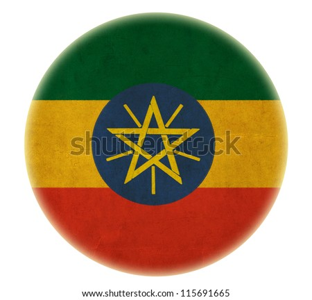 grunge Ethiopia flag drawing button