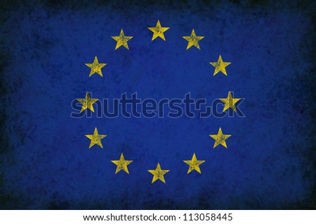 Grunge Europe Flag as an old vintage European symbol of unity and English French German Italian culture on an antique textured material for the governments of Greece Spain and other countries.