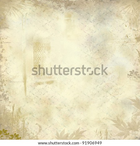Grunge fantasy wallpaper with leaves, floral stylized pattern and  decorated window