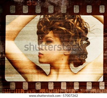Grunge film frame. Retro shot. Fashion art photo