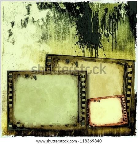 Grunge film strip frames