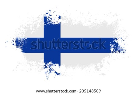 Grunge finnish ink splattered flag