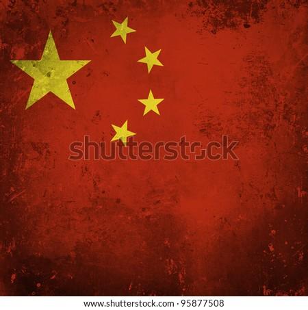 Grunge flag of China