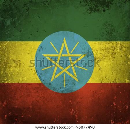 Grunge flag of Ethiopia