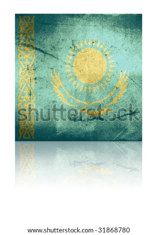grunge flag of kazakstan with shadow