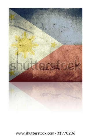 grunge flag of philippines with shadow