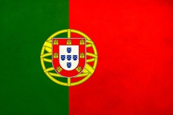 Grunge Flag of Portugal , Portugal flag pattern on the concrete wall, flag of Portugal banner on scratched vintage texture, retro effect , Background for design in country flag
