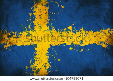 Grunge flag of Sweden, image is overlaying a detailed grungy texture