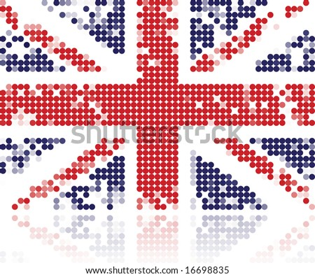 Grunge flag of United Kingdom made from circles