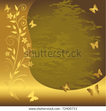 Grunge floral background with gold banner and butterflies. Similar image in Vector format  in my portfolio.