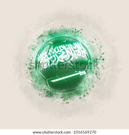 Grunge football with flag of saudi arabia. 3D illustration ストックフォト ©