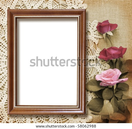 grunge frame for congratulation,  invitation or memories scrapbook on the vintage background
