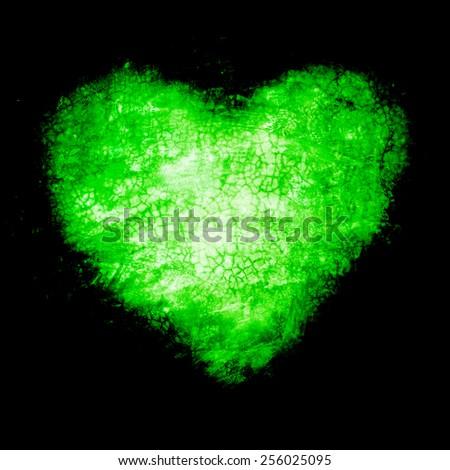 Grunge frame , heart shape green color, Valentines Day.