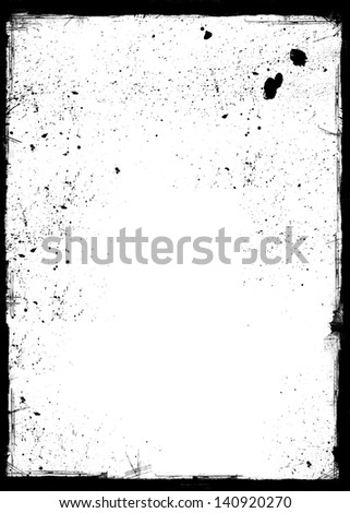 Grunge frame with black inky splashes. Space for acidic designs, text, picture, logo etc.