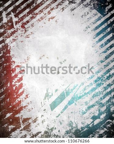 Grunge frame with stripes, blue and red color illustration