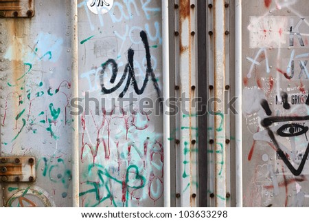 Grunge freight container door background with writings in Japanese
