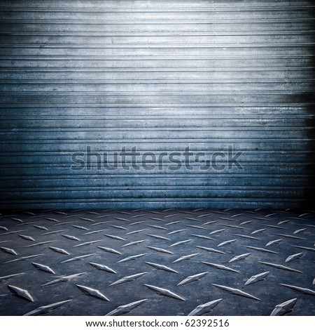 grunge , garage room , stripped texture metal background  , floor and wall