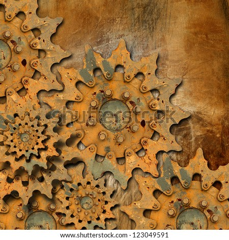 Grunge Gears Background / Mechanical background with rusted gears - grunge composition