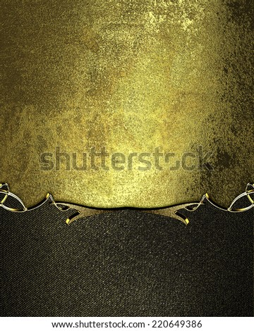 Grunge gold background with black edge with gold trim. Design template. Design site