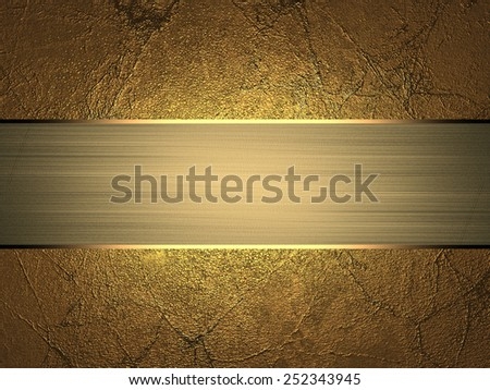 Grunge gold texture with gold divorce with gold ribbon. Design template
