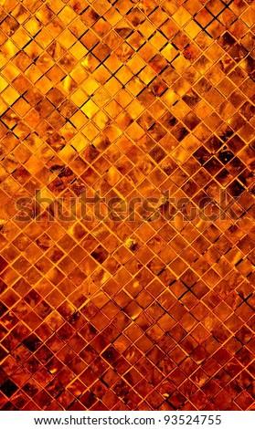 grunge golden mosaic, Copper background