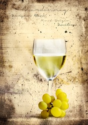 Grunge graffiti effect image of classic chilled French white wine ideal for your bistro or restaurant wall art or menu cover design art. Generous accommodation for copy space.