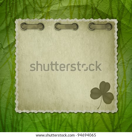 Grunge green background with ancient ornament for St. Patrick's Day