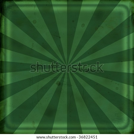 Grunge green background with rays