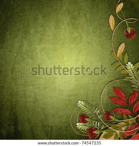 grunge green background with red roses and fall leaf (1 of set)