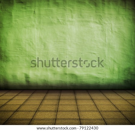 grunge  green industrial interior with tile floor with artistic shadows added and focus set on the wall