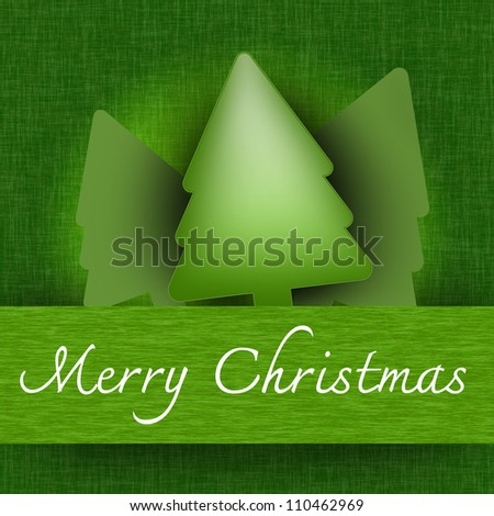 Grunge Green Merry Christmas Pop Up Card With Christmas Trees and Merry Christmas Banner in Green Background