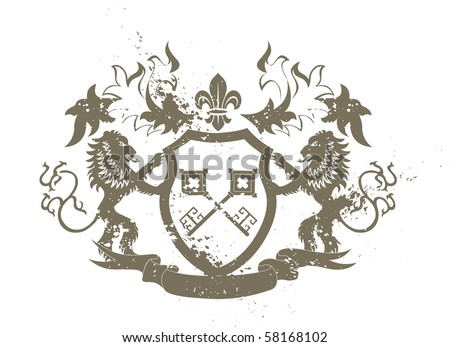 Grunge heraldic shield with lions and fleur-de-lis - illustration
