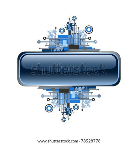 Grunge & hi-tech banner or button. Raster version.
