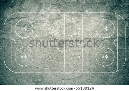 Grunge hockey rink with chalk lines.