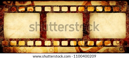 Grunge horizontal background in steampunk style with retro filmstrips and old paper texture. Mock up template. Copy space for text