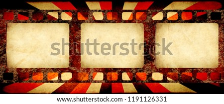 Grunge horizontal background with retro filmstrips and old paper texture with striped brust pattern