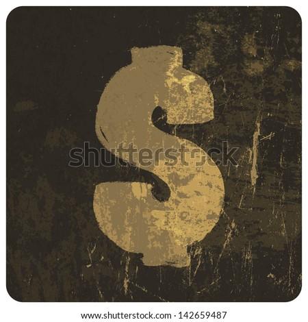 Grunge illustration of dollar sign. Raster version, vector file available in portfolio.