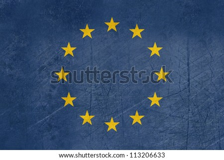 Grunge illustration of European Union flag in official colors.