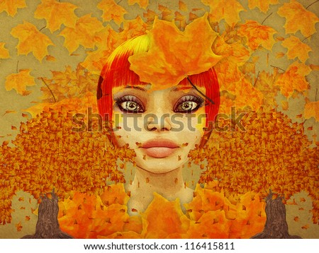 Grunge illustration of girl and autumn leaves on paper background.