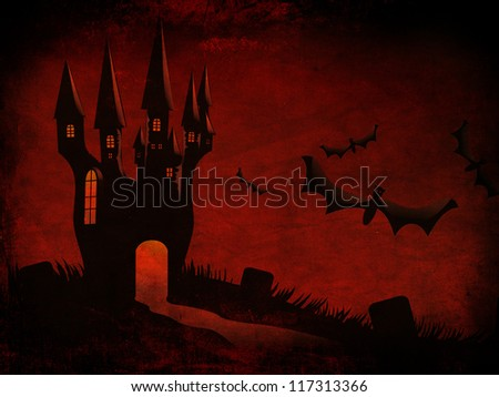 Grunge illustration of halloween castle silhouettes with bats background.