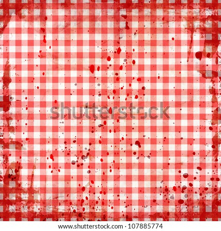 grunge illustration of red picnic tablecloth