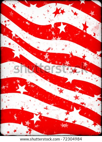 Grunge illustration with stars and stripes resembling the american flag